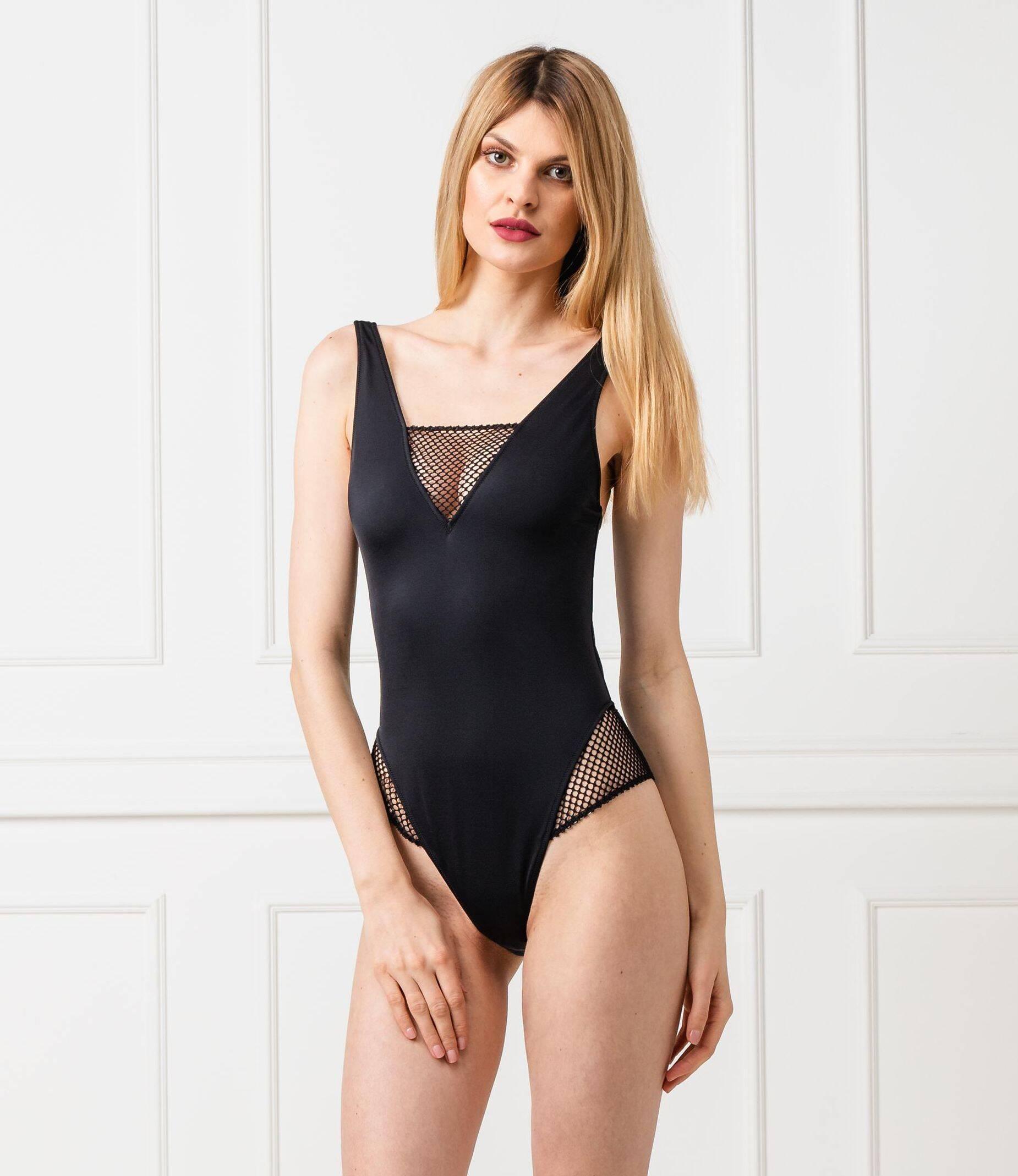 69d94c5efd8a6e Strój kąpielowy CHEEKY MESH ONE PIECE Calvin Klein Swimwear | Czarny |  Gomez.pl