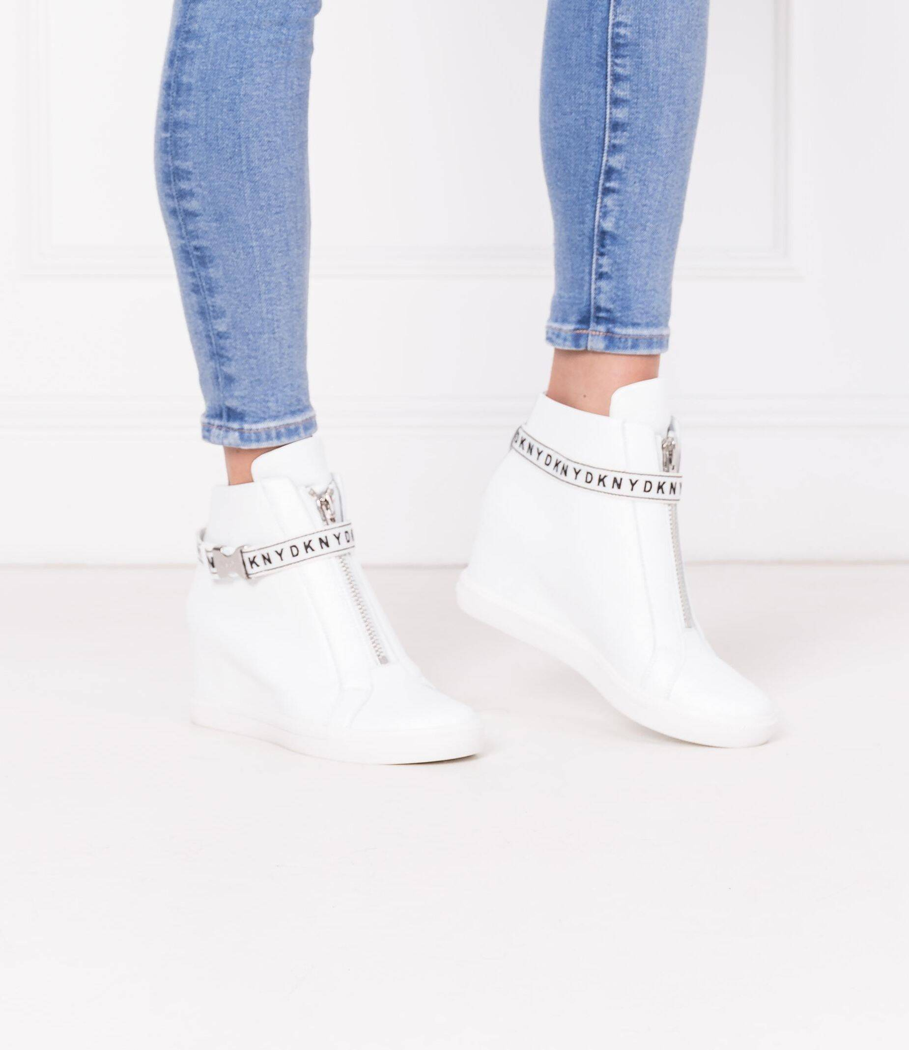 Leather sneakers CADDIE DKNY   White