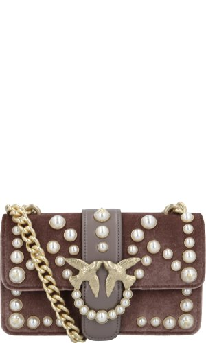 Pinko Shoulder bag MINI LOVE VELVET PEARLS