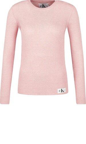 Calvin Klein Jeans Sweter MONOGRAM BADGE RIB | Slim Fit | z dodatkiem wełny