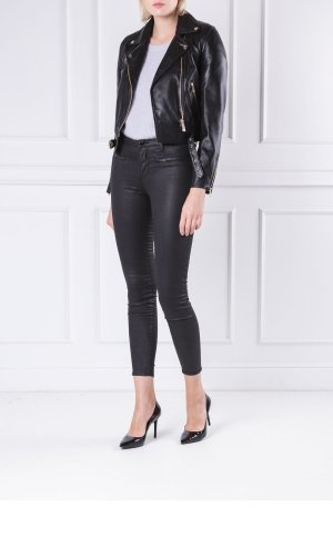 Trussardi Jeans Skórzana ramoneska | Slim Fit