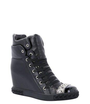 WYPRZEDAZ CASADEI Czarne sneakersy z łańcuchem