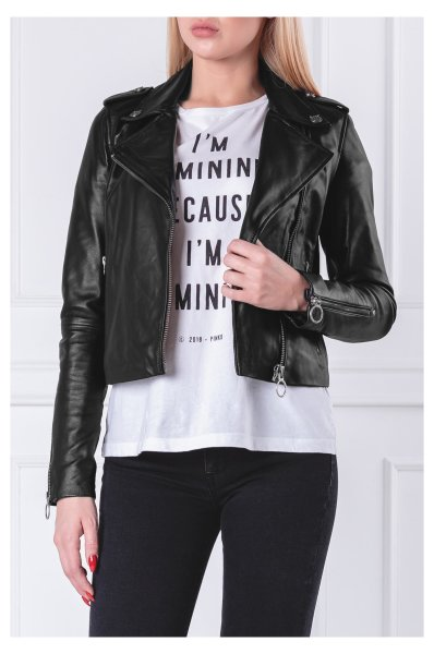 0b10c46c7ed Jacket tenaglia chiodo | Regular Fit Pinko | Black | Gomez.pl/en