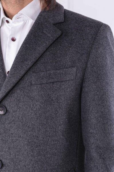 Wełniany płaszcz Nye2 | z dodatkiem kaszmiru Boss grafitowy