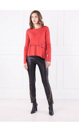 Pinko Spodnie | Regular Fit | z dodatkiem skóry