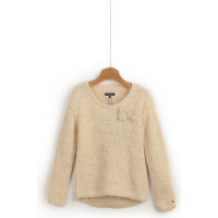 Sweter Boucle Mini Tommy Hilfiger beżowy
