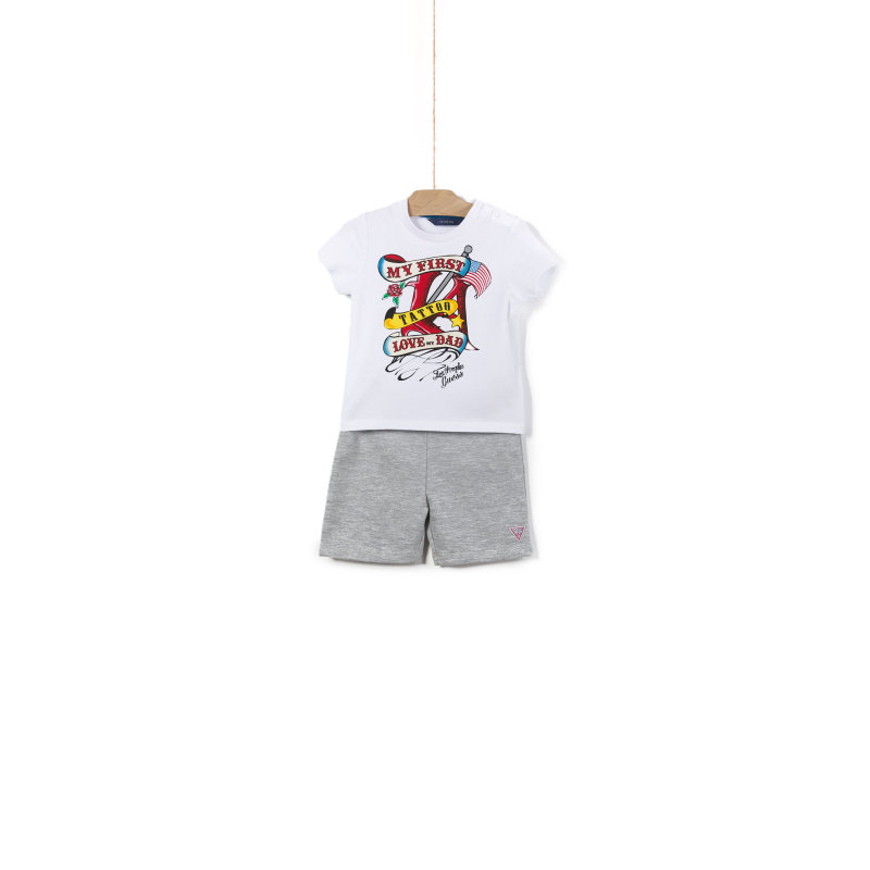 Tattoo Print T-shirt + Shorts Guess white