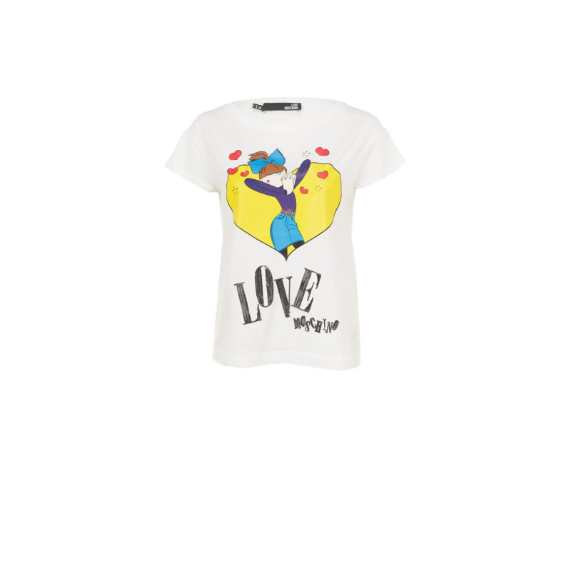 T-shirt Love Moschino kremowy