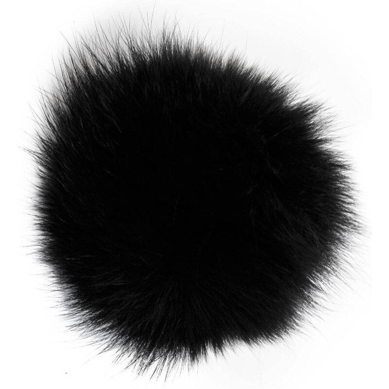 Fur Pom Pom Keychain Michael Kors black