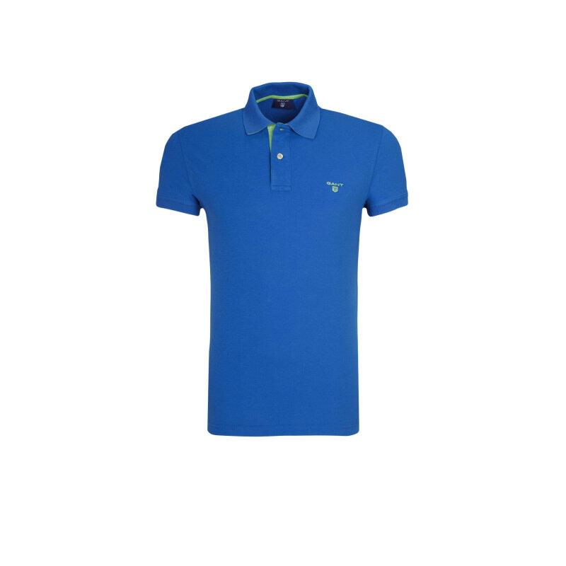 Polo Cantrast Collar Rugger Gant niebieski