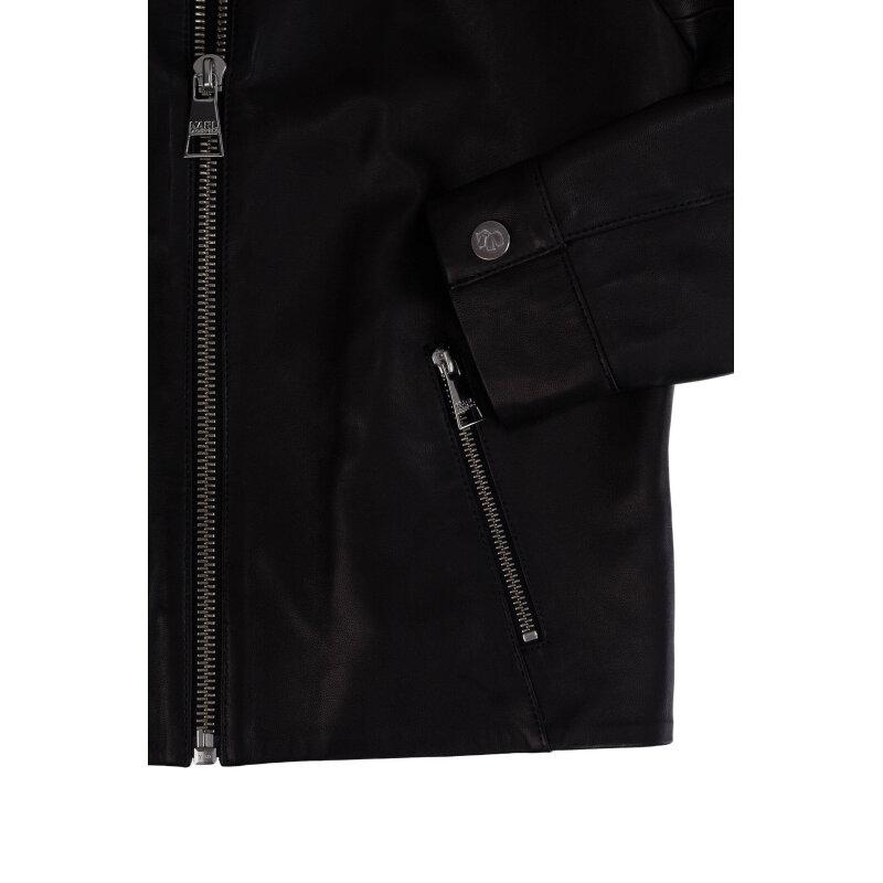Kurtka skórzana Karl Cropped Leather Bomber Karl Lagerfeld brązowy