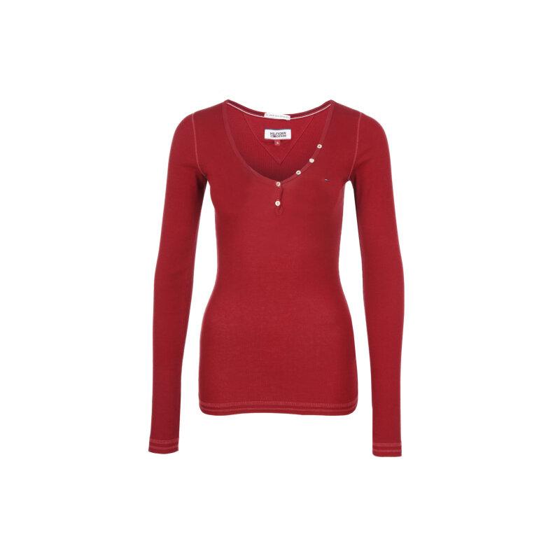 Bluzka THDW Basic Hilfiger Denim czerwony