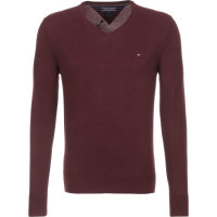 Sweter Plaited CTN Silk V-nk Tommy Hilfiger bordowy