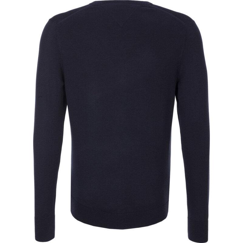 Sweter Plaited CTN Silk V-nk Tommy Hilfiger granatowy