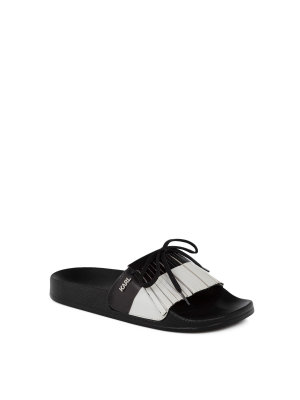 Karl Lagerfeld Striped Fringe Slides