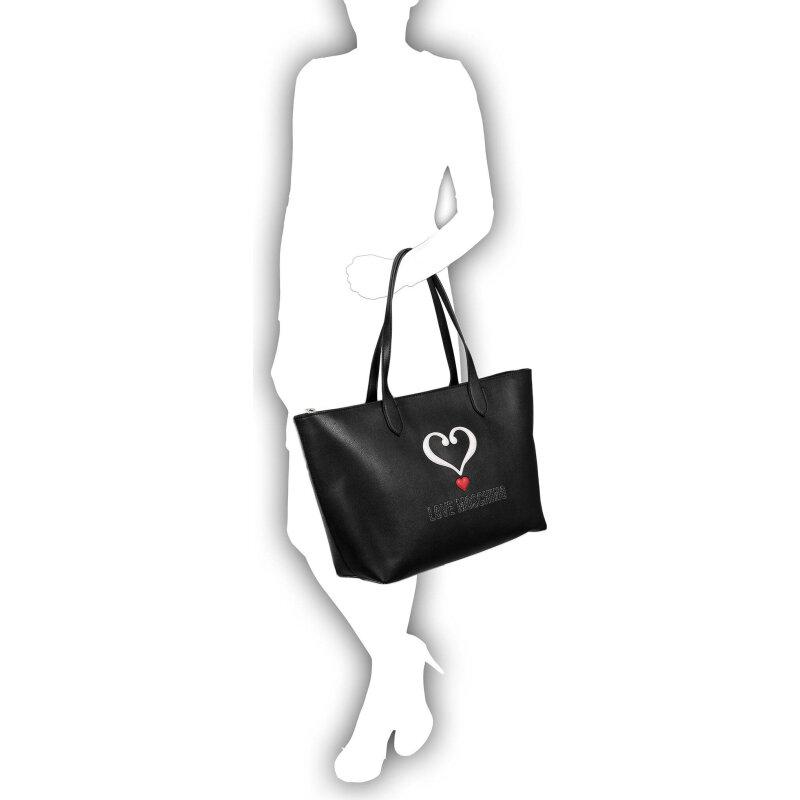 Embossed Heart Shopper bag Love Moschino black