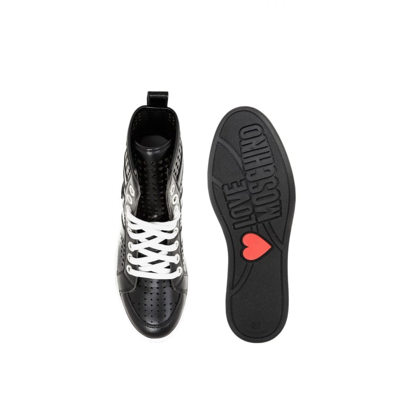 Sneakersy Cut-Out Love Moschino czarny