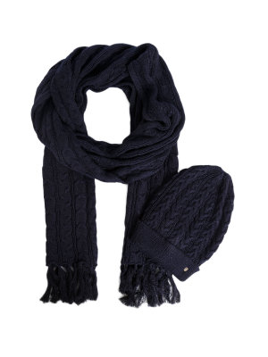 Tommy Hilfiger Luca Cable Lurex Beanie + Scarf