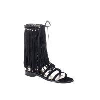 Fringebenefr gladiator sandals Stuart Weitzman black