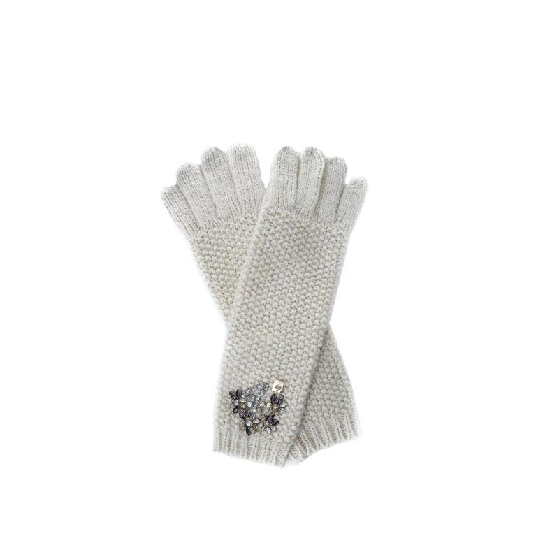 Rękawiczki Strass Twinset kremowy
