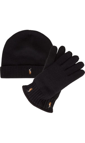 Polo Ralph Lauren Wełniana czapka + wełniane rękawiczki