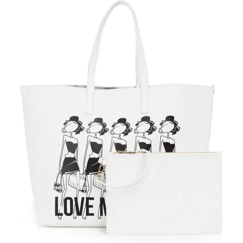 Dwustronna Shopperka Item Love Moschino biały