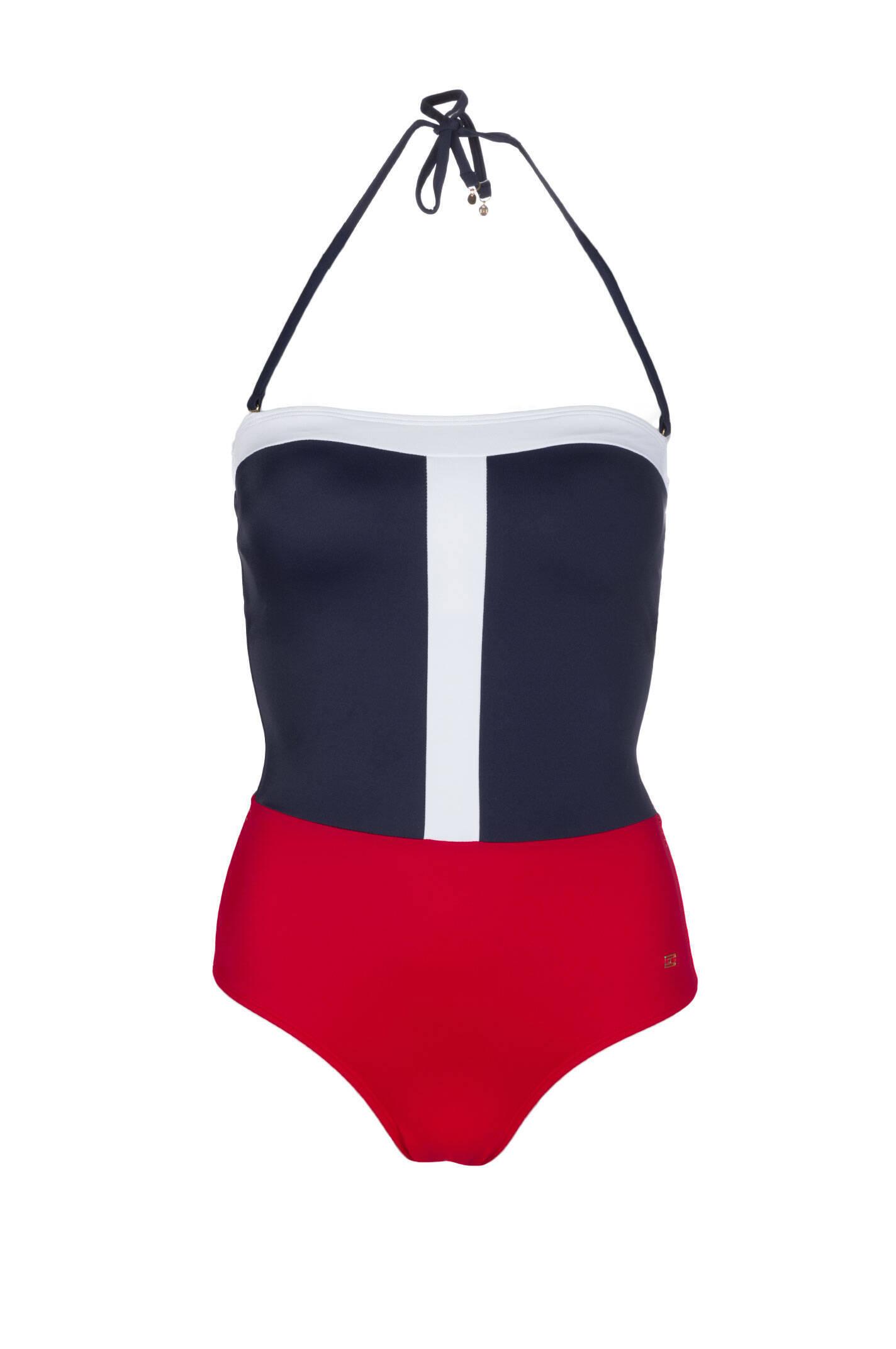 colorblock bathing suit tommy hilfiger navy blue swimwear. Black Bedroom Furniture Sets. Home Design Ideas